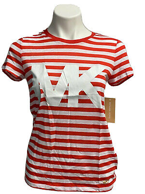 MICHAEL KORS Red White Stripe T-Shirt MK Logo Poppy Red NEW Size XS NWT $68