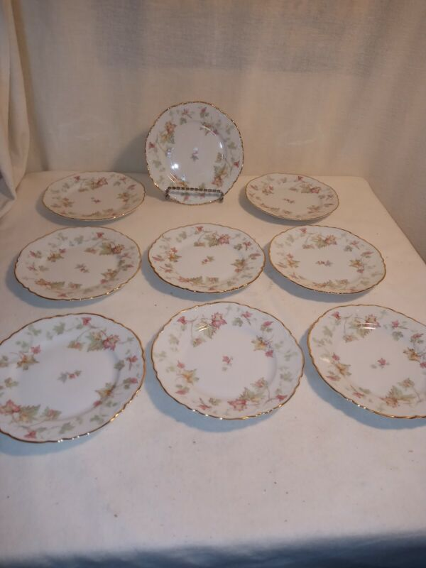 "Set of 9 Hutschenreuther Selb Bavaria LHS Lion 6"" salad bread Plate Hand Painted"