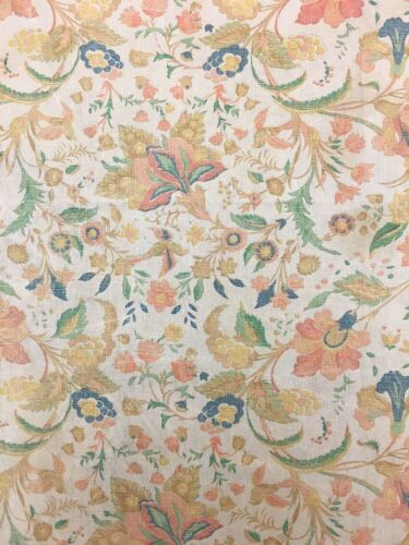 Antique Beautiful French Exotic Linen Floral Print 1930s (9993)