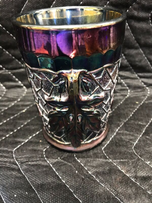 IRIDESCENT AMETHYST CARNIVAL MAPLE LEAF TUMBLER GLASS