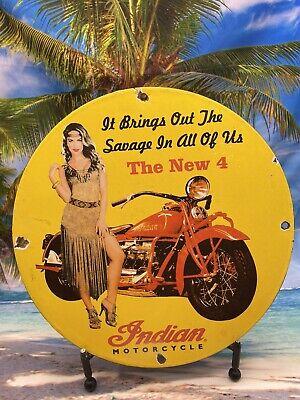 VINTAGE INDIAN MOTORCYCLE 4 GASOLINE PORCELAIN SIGN GAS PUMP STATION