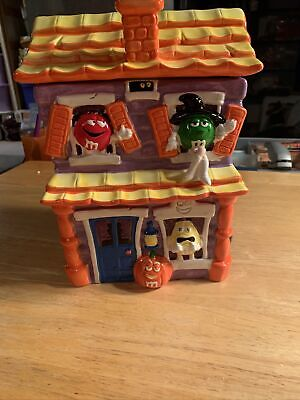 M&M's Halloween Haunted House Cookie Jar With Sound Yellow Orange With Box Fall
