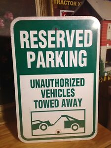 Reserved Parking Tin Man Cave Sign