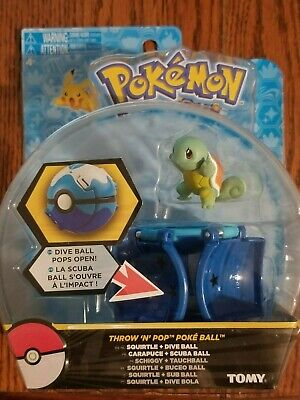 TOMY Pokemon Collectible Throw and pop poke ball with Squirtle action figure