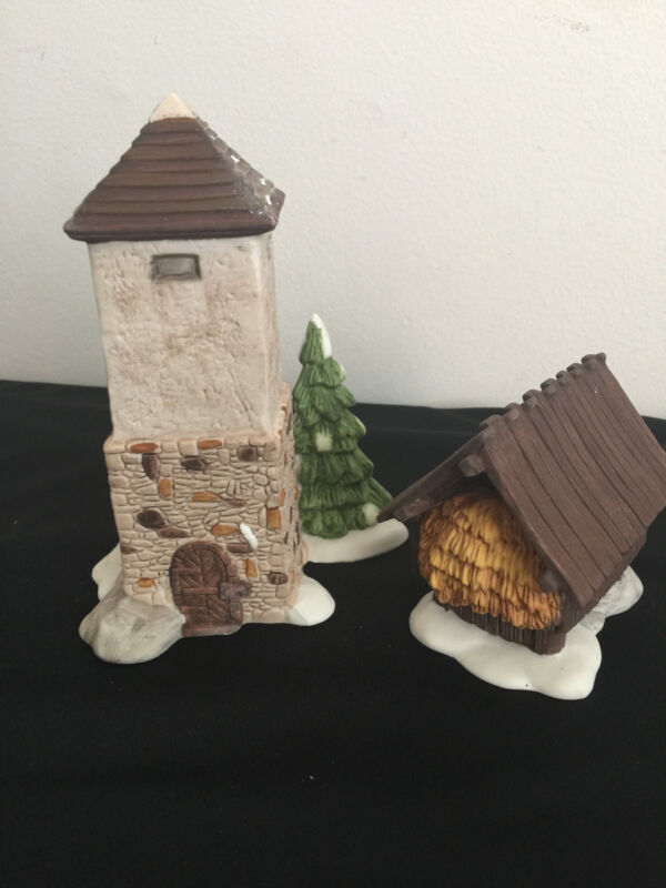 Dept 56 Heritage Village Collection Silo And Hay Shed 2 Pieces Retired 5950-1