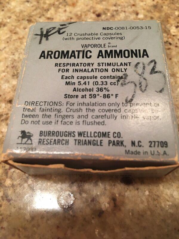 Vintage Aromatic Ammonia 8 Crushable Capsules Vaporole  Burrough Wellcome Co