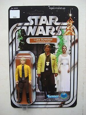 Vintage STAR WARS LUKE SKYWALKER CEREMONIAL OUTFIT CUSTOM on New Hope Style MOC
