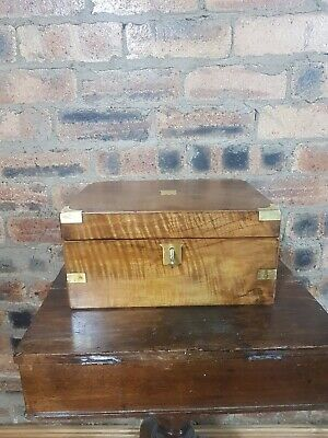 Antique Writing Slope With Working Key And Brass Inlays