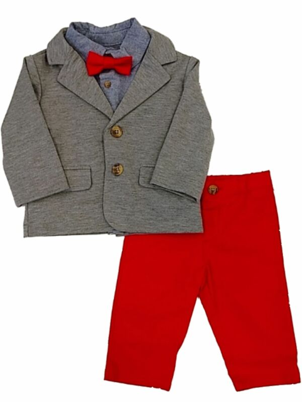Infant & Toddler Boys Dress Up Gray Jacket Red Pants & Bow Tie Outfit Set 18M