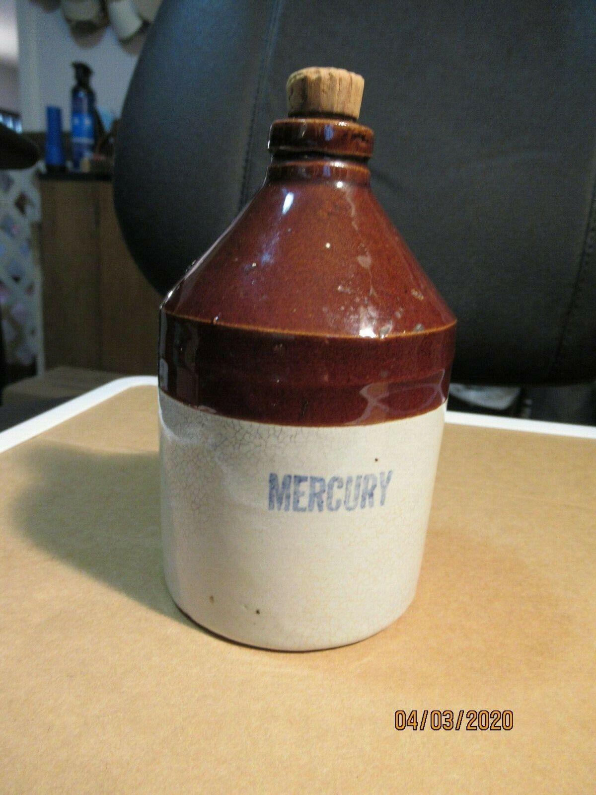 "Vintage Mercury Brown Jug, #5- USA - 5"""