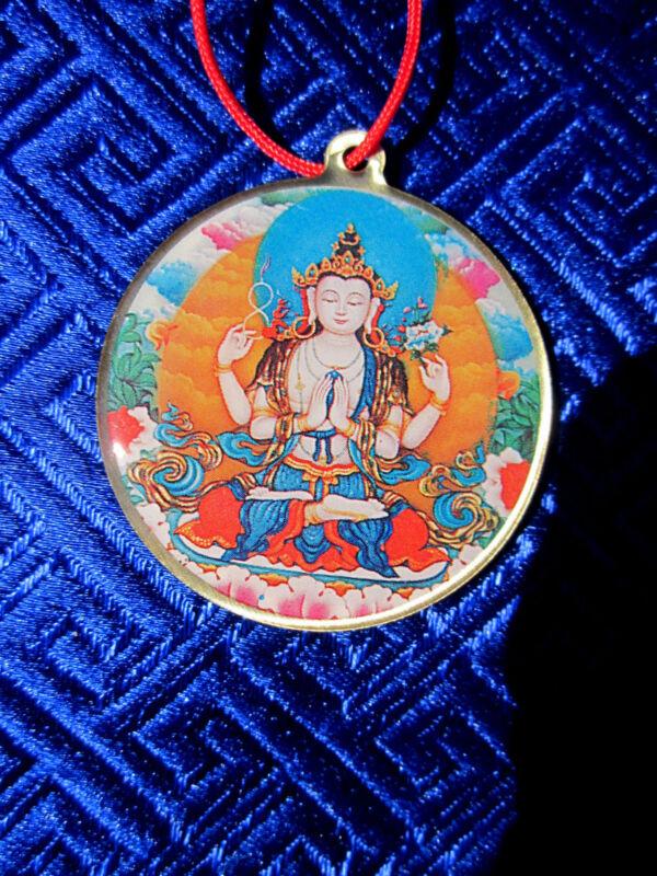 4 ARM CHENREZIG AVALOKITESHVARA & MANTRA TIBETAN BUDDHIST PENDANT NECKLACE NEW