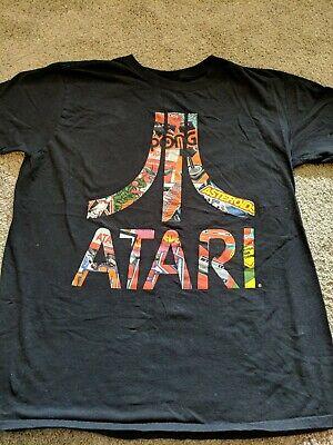 Black  ATARI Gamer T-Shirt Short Sleeve Multi Colored Logo Sz L