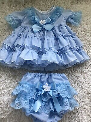 CLOTHES FOR BAby 3-6 Mths /REBORN doll 22inch Blue Spanish two piece Dress Set