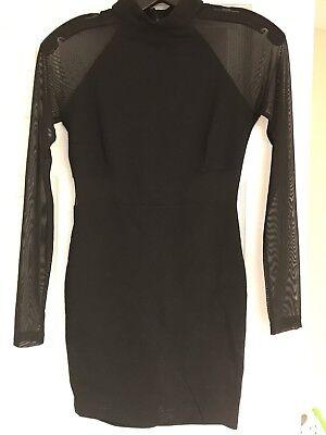 Windsor  Black Dress Party Dress Bodycon Sheer Sleeves  Size Medium