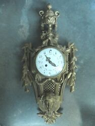 FRENCH 19TH C BRONZE DORE SAMUEL MARTI  FIGURAL WALL CLOCK AS IS