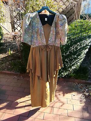True Vintage 1970er Party Kleid Cocktailkleid lang gold - 1970 Kleid