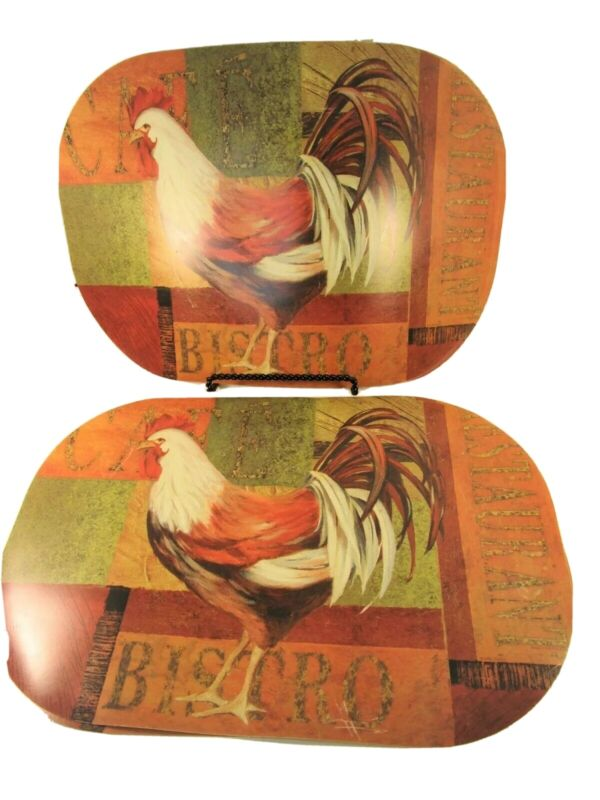 Silver Coast Creations 6 Vinyl Placemats Gourmet Rooster 12x17 xlnt condition