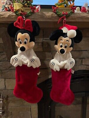 """Disney World Parks vintage Mickey and Minnie Christmas Stocking Plush Rare 23"""""""