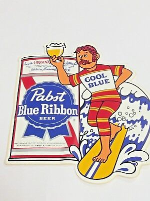 PABST BLUE RIBBON BEER, SURFER GUY, COOL BLUE, STICKER, AMERICAS BEST IN 1893,