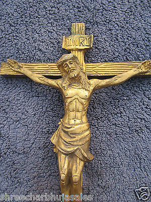 VINTAGE BEAUTIFUL WALL SCULPTURE CRUCIFIX CROSS WITH PRAYING JESUS SOLID BRASS