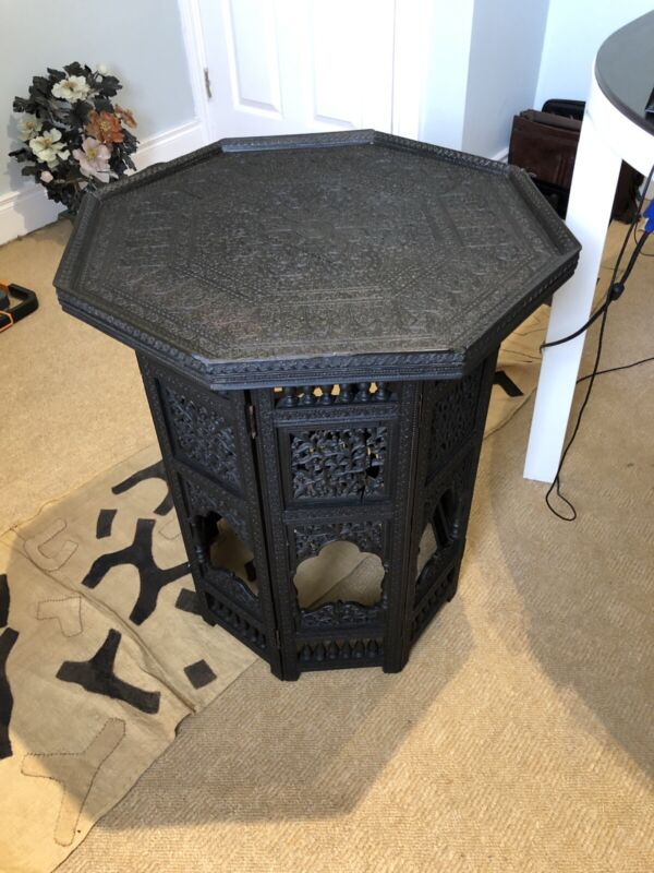 Large Anglo Indian Nagina Octagonal Solid Ebony Wood Table, Ebony Campaign Table