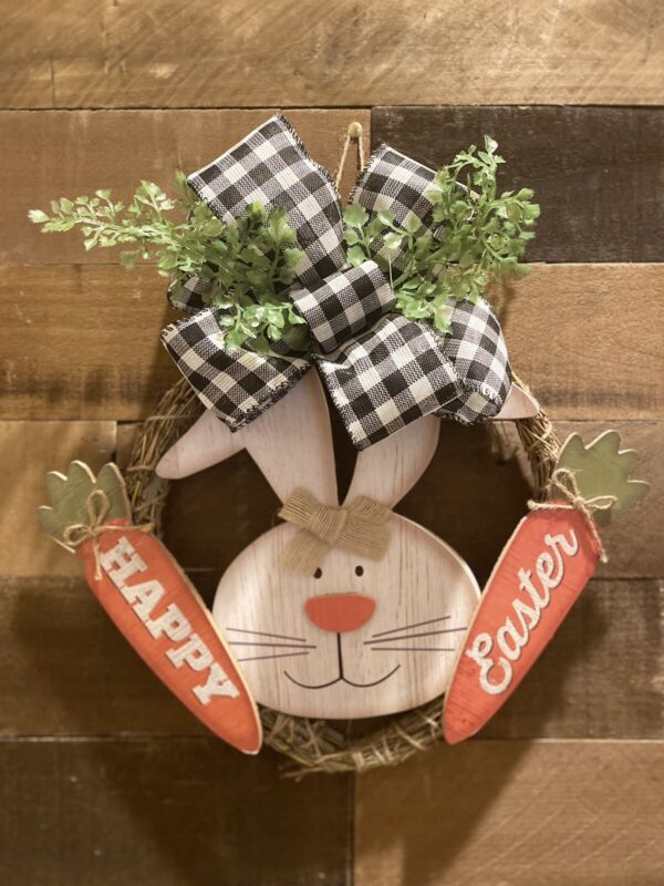 Adorable Rustic Farmhouse Style Easter Spring Door Wreath
