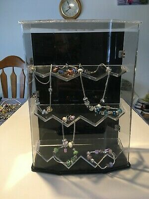 Black Clear Acrylic Jewelry Display Case 14 X 10 X 5 Cabinet Showcase