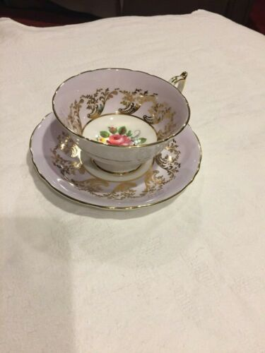 Paragon Tea Cup and Saucer Light Lavender Background Floral Gold Trim