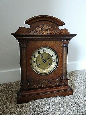 Antique Edwardian Carved Oak Bracket/Mantel Clock with Chime (Key & Pendulum)