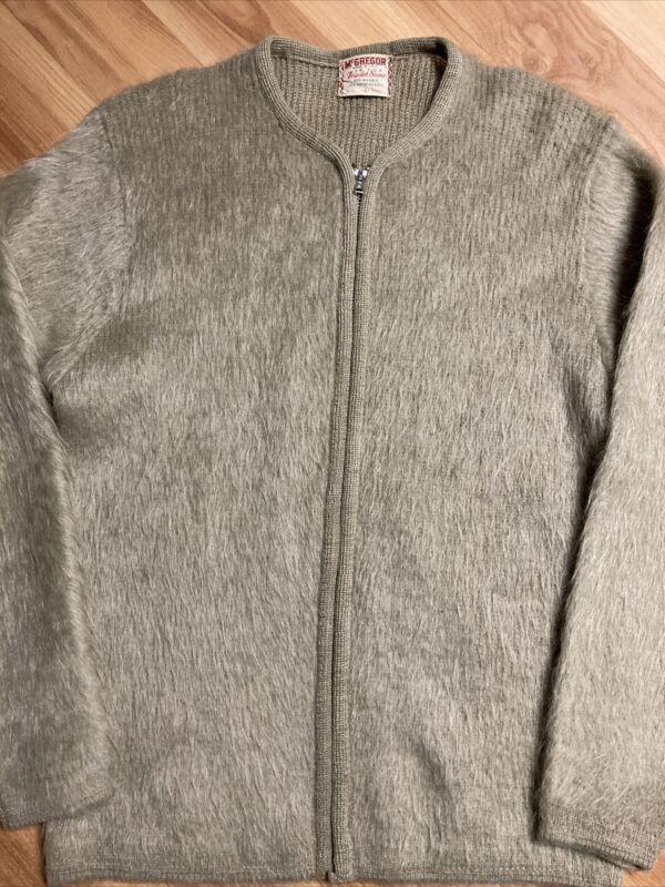 Vintage Mohair Cardigan Sweater McGregor Cobain Grunge Sz L  light green