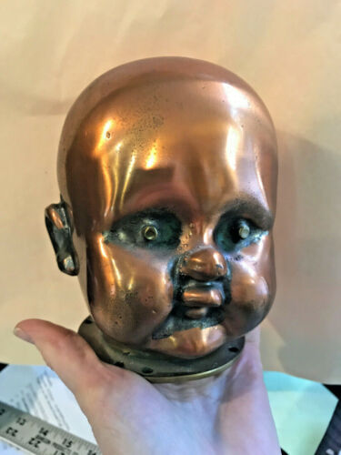 Vintage Shiny Copper + Brass Baby Doll Head Factory Mold