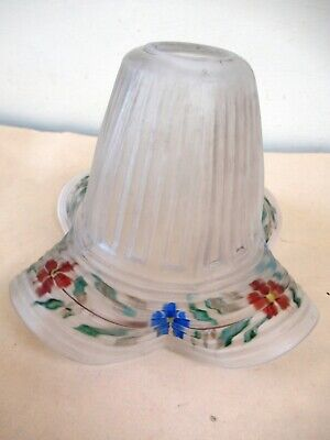 Antique Hand Painted Glass Lamp Shades Frosted Floral Design Border Decorative*F