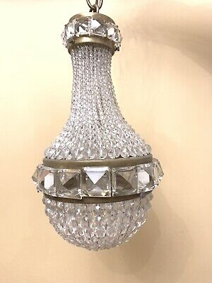 Antique Petite French Crystal Beaded Shade Balloon Chandelier Ceiling