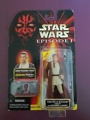 1999 Hasbro Star Wars Episode 1 Obi-Wan Kenobi Figur mit Lichtschwert, Neu/OVP