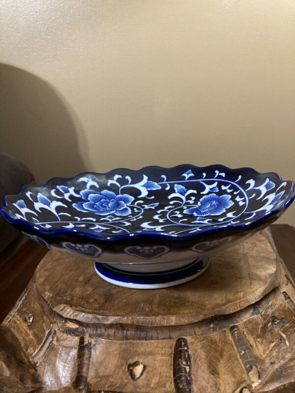 The Bombay Company Blue and White Serving Bowl On Pedestal