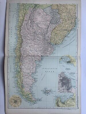 1908 Argentina & Chile Antique Map by G.W. Bacon