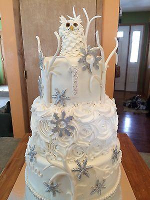Edible Fondant Snowy Owl&Branches Cake Topper Decoration Winter Birthday Shower](Owl Cake Topper)