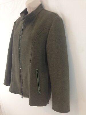 John Varvatos Womens Jacket - John Varvatos Womens M Green Italian Wool Cashmere Lined Zip Front Jacket