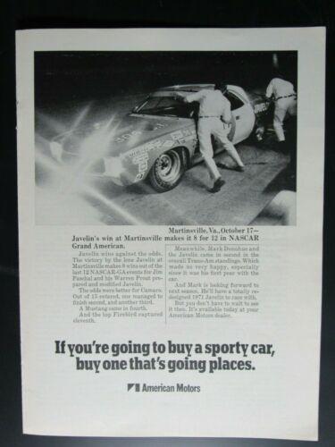 "1971 AMC Javelin Jim Paschal Martinsville Original Print Ad 8.5 x 11"""