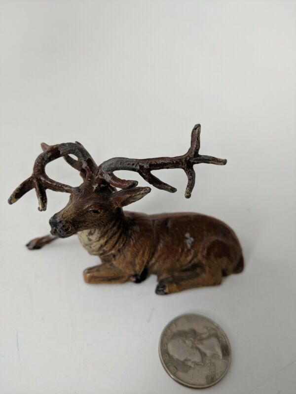 "Vintage Putz Metal Reindeer -Buck- Deer -Christmas -2.5"" tall - Germany"