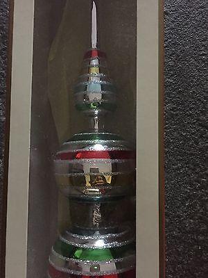 Vintage Style Glitter Striped Tree Topper Top Spire Glass Kurt Adler Christmas