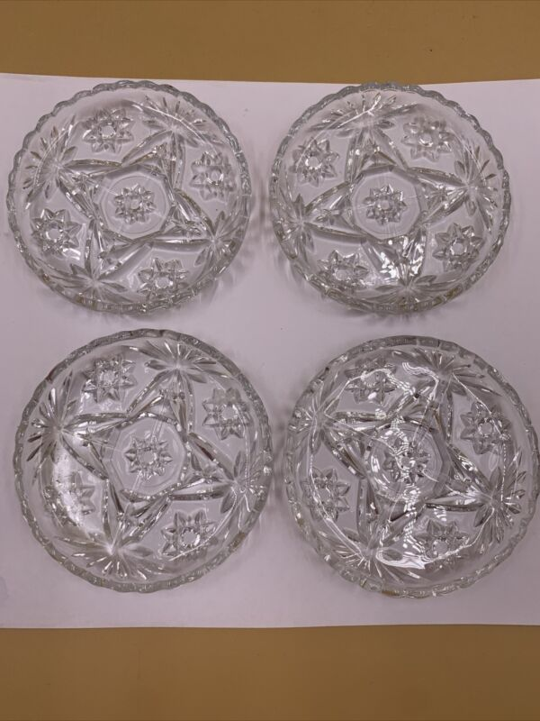Set of 4 Vintage Anchor Hocking Glass Coasters STAR OF DAVID Early American
