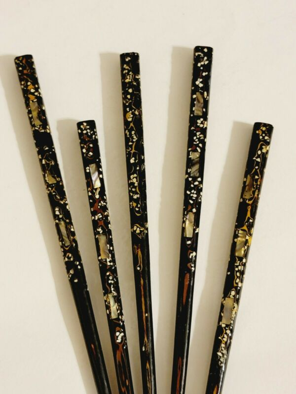 RARE SET 5 VINTAGE ASIAN LACQUERED HAIRPIN CHOPSTICKS INLAID ABALONE SHELL MOP