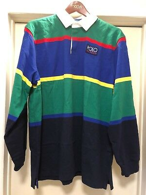 POLO RALPH LAUREN HI TECH RUGBY GREEN RED BLUE YELLOW CLASSIC FIT STRIPE SHIRT