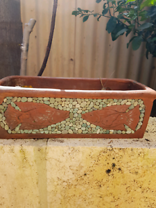 Pair of Pebble Mosaic clay planter herb / flower pots Scarborough Stirling Area Preview