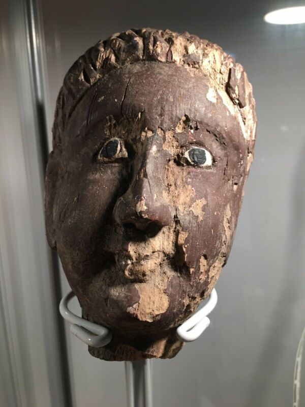 Antique Ancient Roman Carved & Painted Wooden Head Sculpture Fragment Artifact