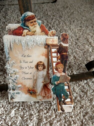 Vintage Victorian style Santa Christmas glittered easel Christmas card