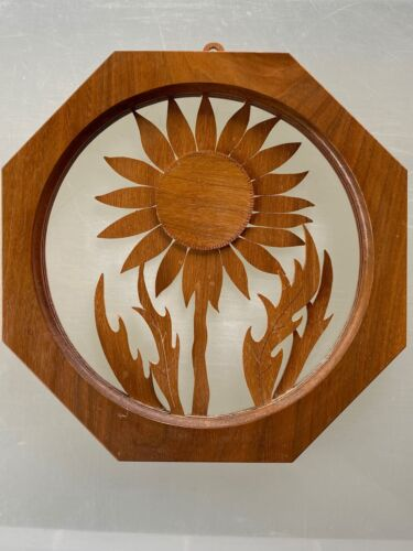 "Vintage Marlow Woodcut Kansas Sunflower Americus KS 1987 Wall Decor 7x7"""