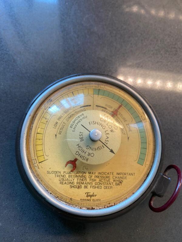 Vintage Taylor Fishing Guide Barometer Fisherman with Altitude Adjustment