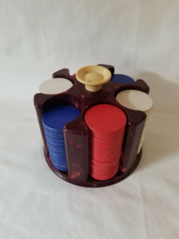 Vintage Cardboard Poker Chips and Plastic Caddy